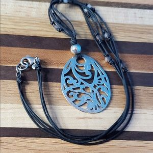 Silpada Filigree Necklace with Abalone Cubes